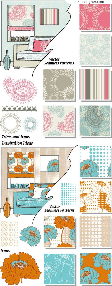 Home decoration wallpaper pattern background vector material