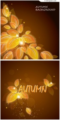 Line drawing of a yellow autumn leaves background vector material
