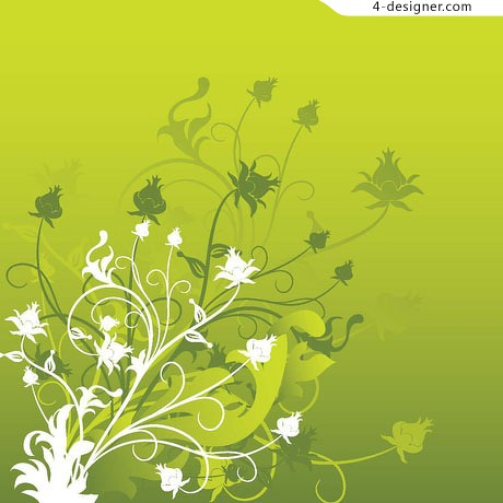 Tender green floral vector material