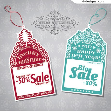 Vintage Christmas tags vector material 04