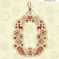 Vintage Christmas tags vector material 05
