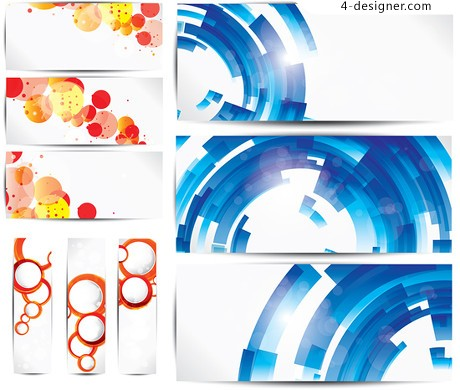 Colorful banners circle banner vector material