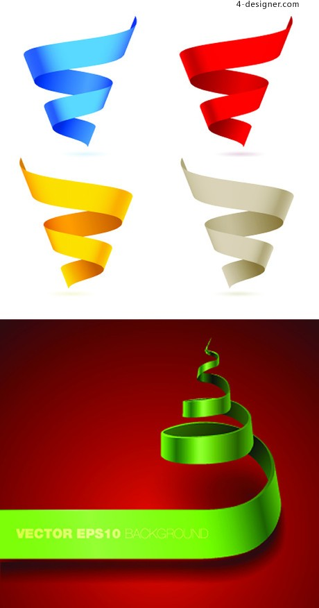 Colored spiral ribbon vector material