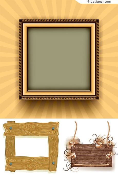 Wood frame vector material