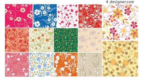 Small flowers series tiled background vector material