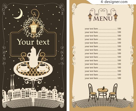 Menu cover design vector material