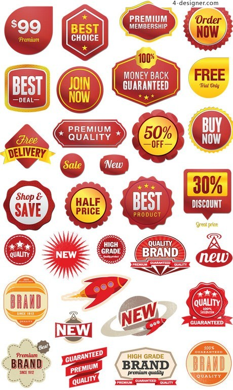 Red Series Product Tags vector material