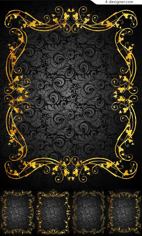 Classical gold pattern background vector material 3
