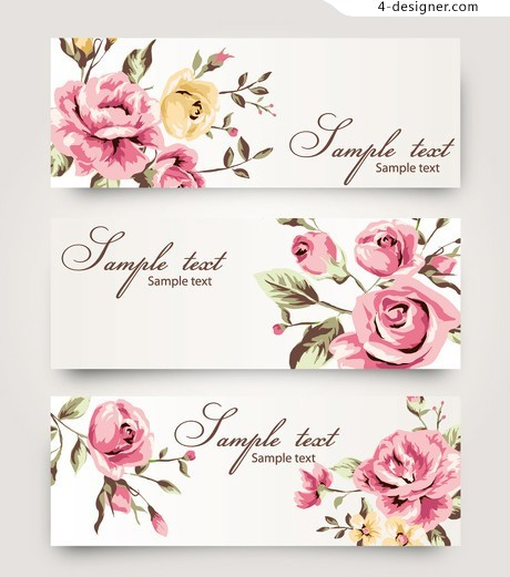 Watercolor floral design elements vector material 04