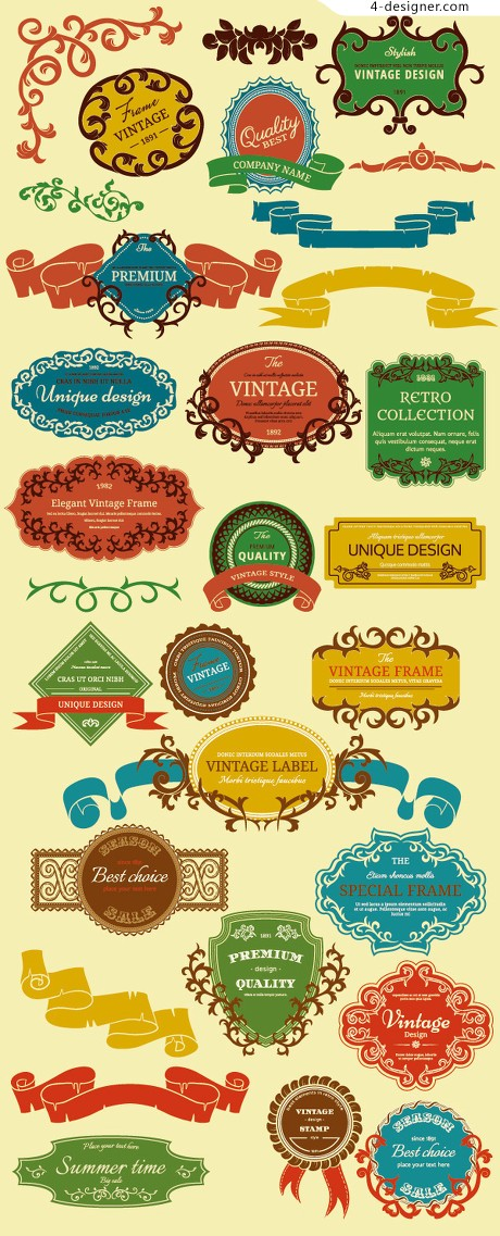 Colorful vintage frame vector material