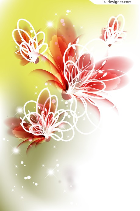 Fantasy flowers translucent flowers vector material