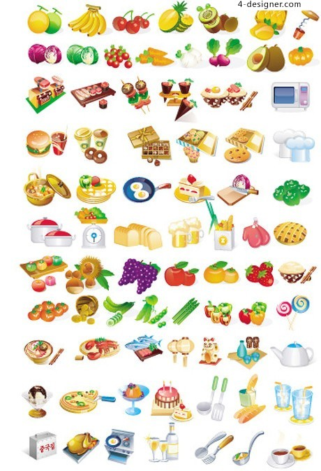 Various types of food the food element vector material