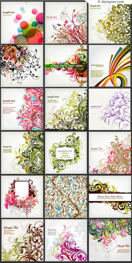 18 models of lush flower vine trend pattern vector material
