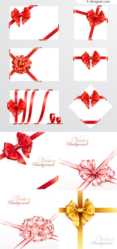 A variety of ornate decorative ribbon flowers vector material