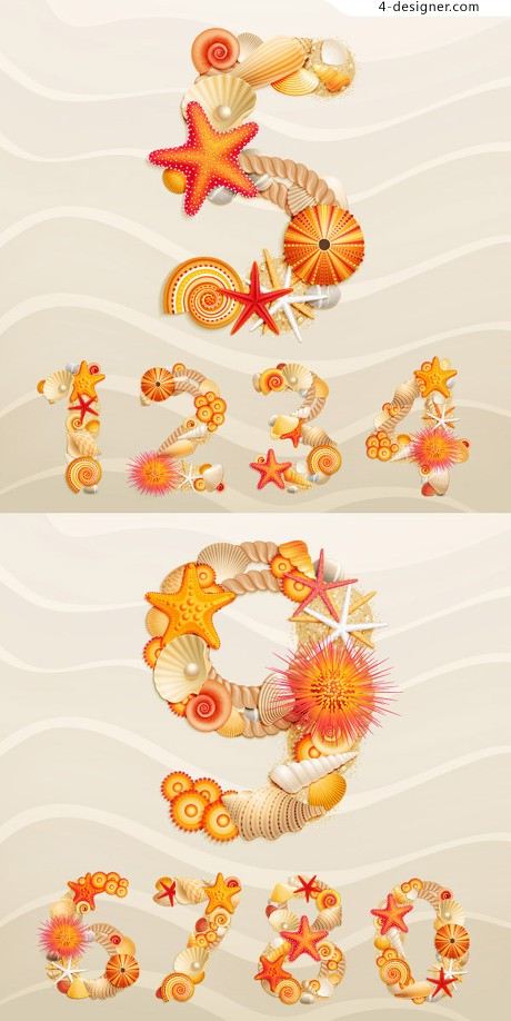 Beach shells combined digital vector material