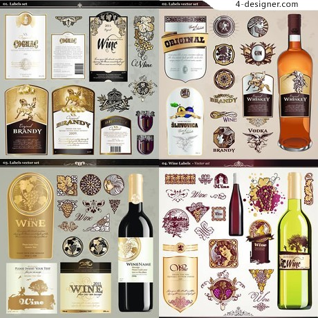 Beautifully foreign bottle label vector material