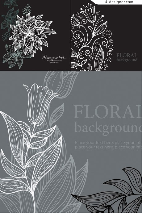 Black and white line drawing flowers and patterns vector material