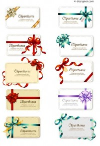 Bow gift cards vector material