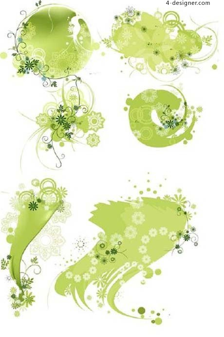 Fresh green vine pattern decoration vector material