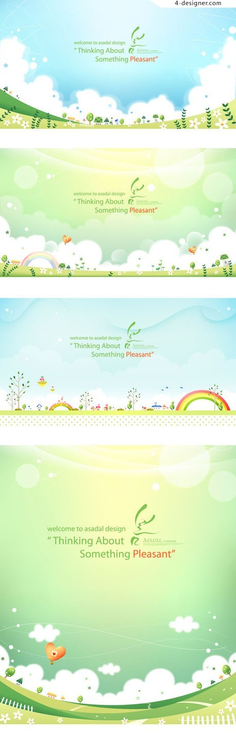 Fresh spring green background vector material
