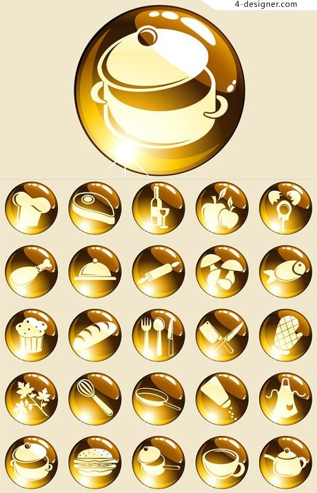 Gold food icon material