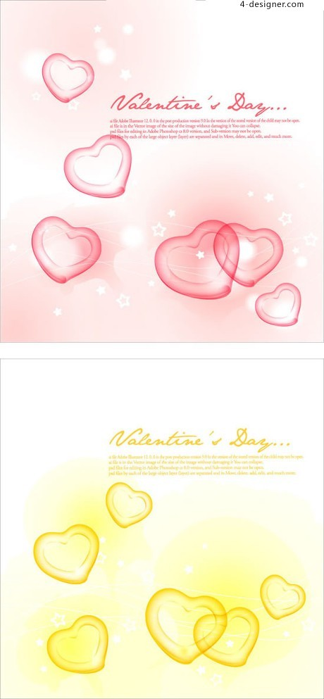 Romantic heart shaped translucent background vector material