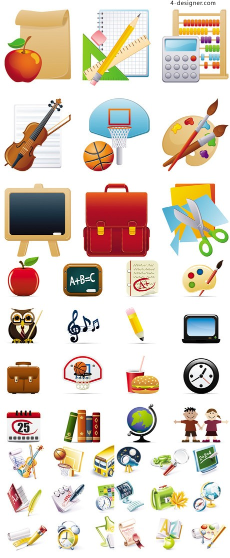 School related icon vector material