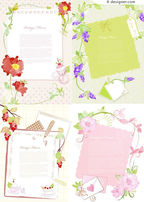 Stationery elegant pattern background vector material