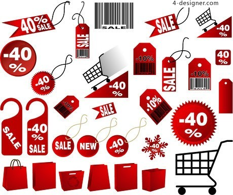 Supermarkets discount tag vector material