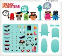 Themselves with cute little monster vector material