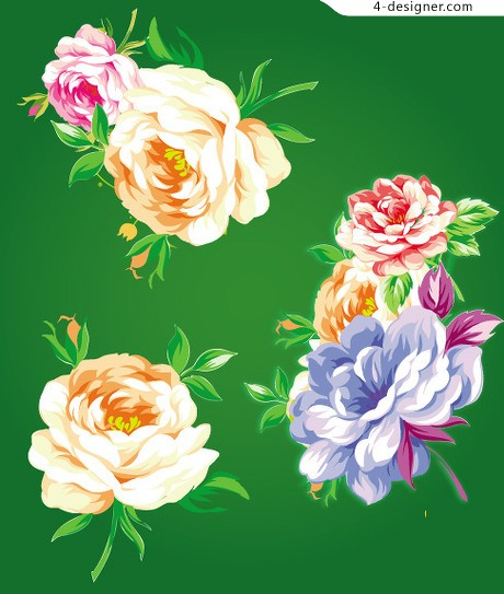 Traditional Chinese flower vector material