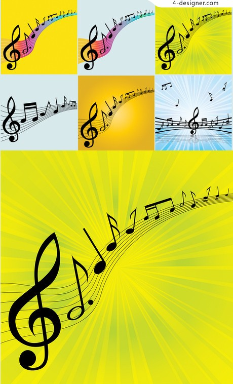 Vibrant notes vector material