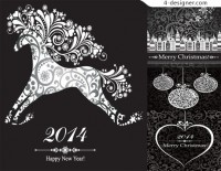 2014 Year of the Horse Christmas theme template vector material