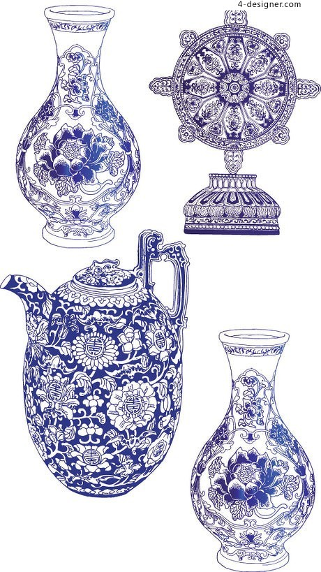 4 vector blue and white porcelain material