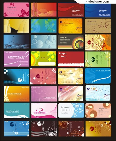 A variety of business cards vector material