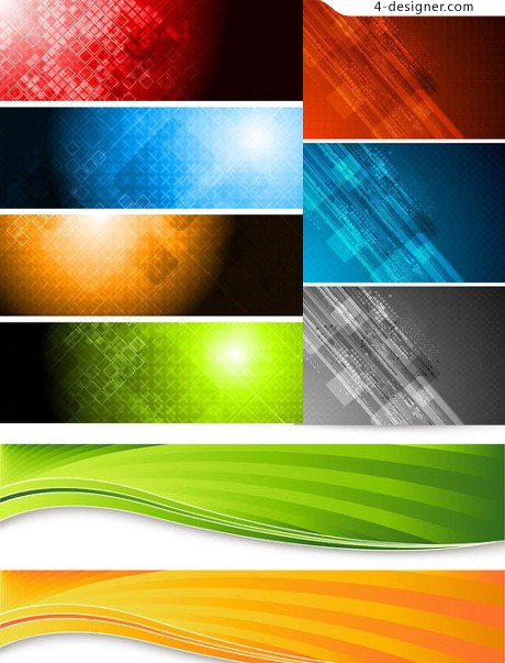 Banne colorful banner vector material