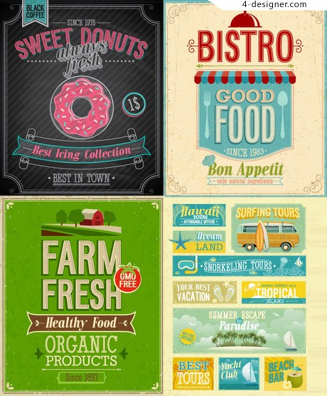 Beautifully retro label vector material