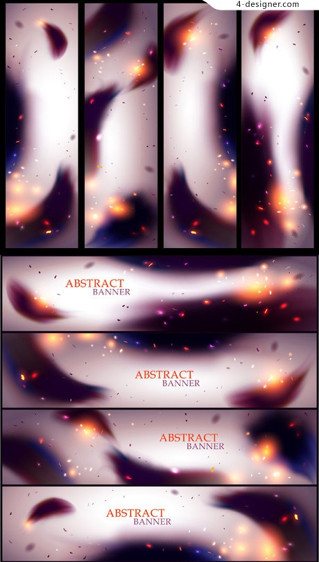 Black flame banner vector material