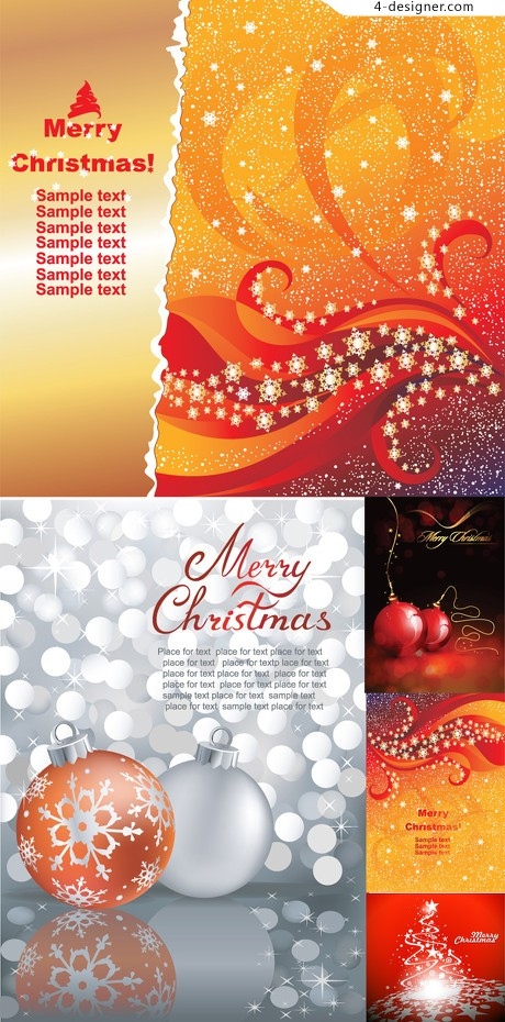 Bright Christmas background vector material two