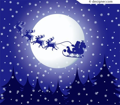 Castle Christmas snowflake moon buggy vector material
