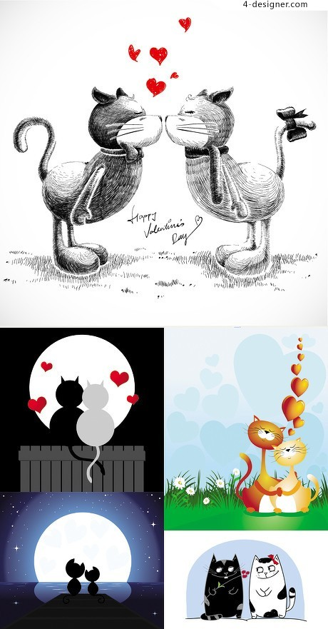 Cats love story vector material 01
