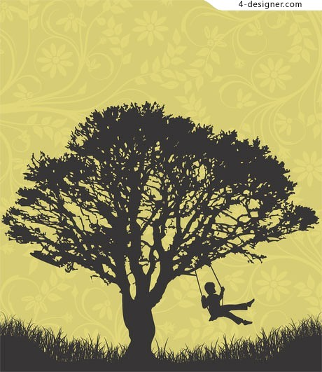 Children silhouette large trees swing vector material