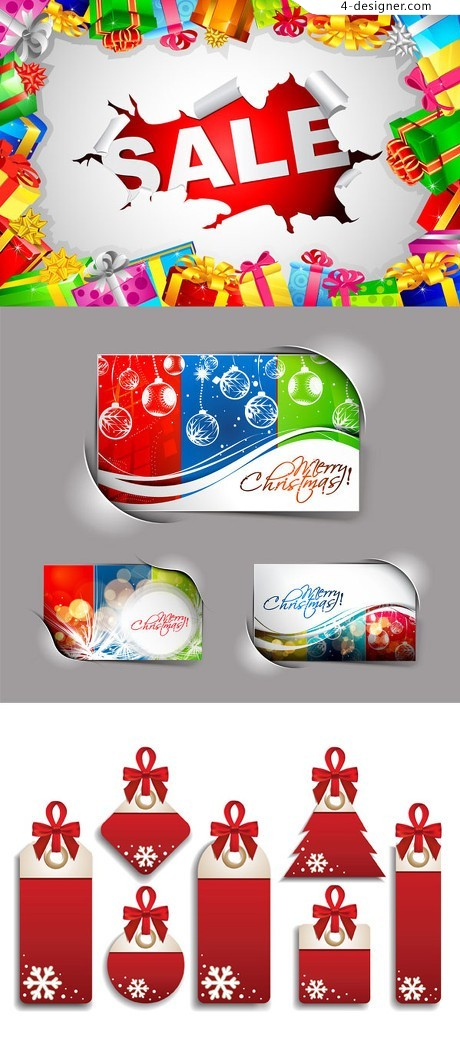Christmas sale card label ads Vector material