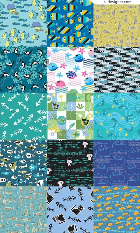 Classic cartoon fish theme background pattern material