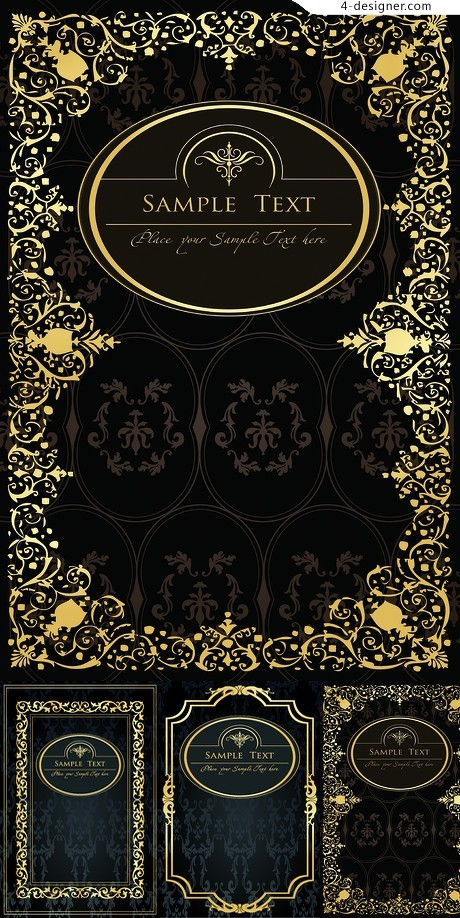 Classical gold pattern background vector material 02