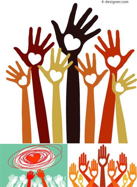Color caring hands vector material