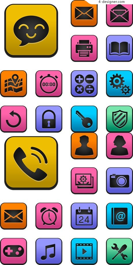 Color computer system icon vector material