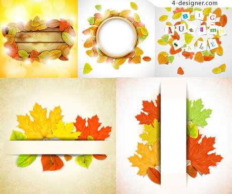 Colorful autumn leaves vector material