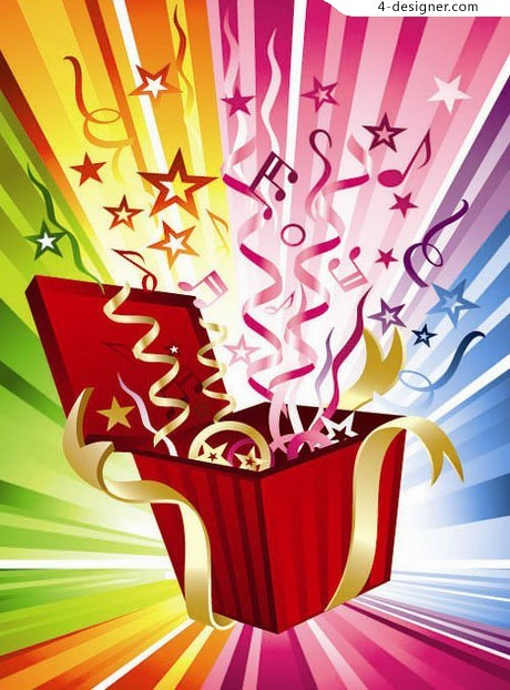Colorful gift box vector material