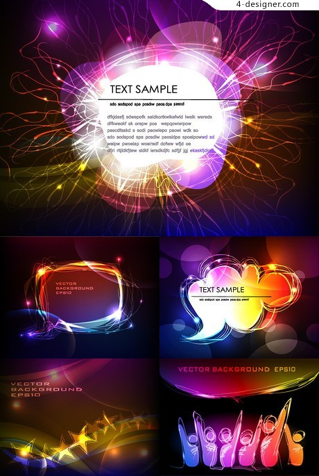 Dazzling neon effect textbox background vector material 01